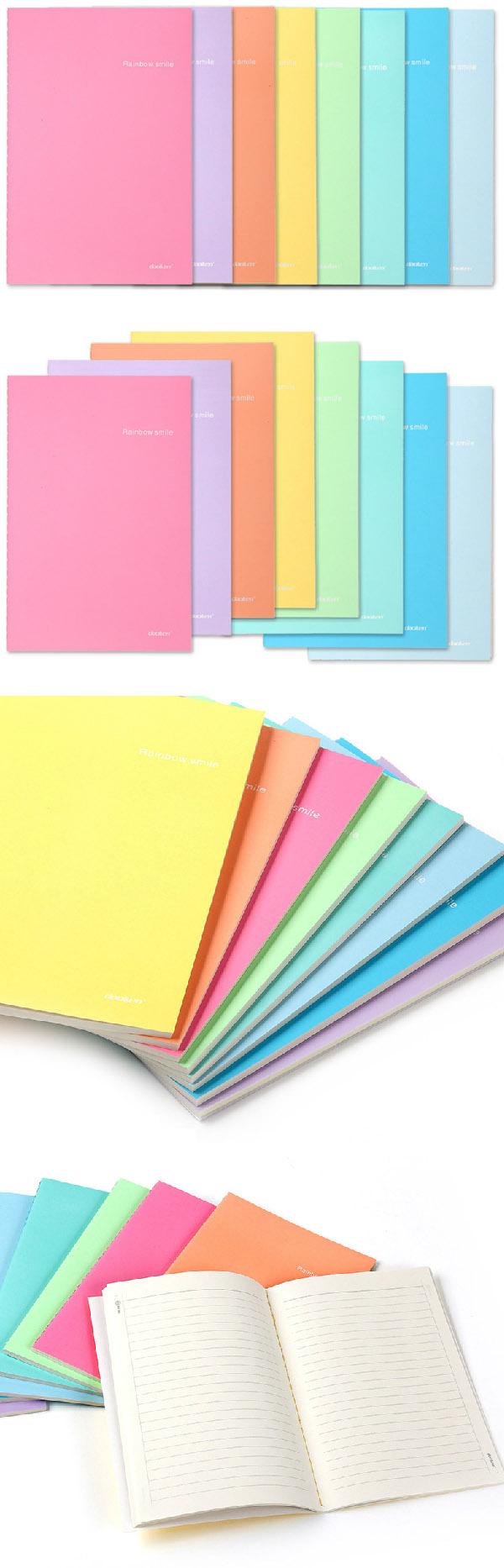 笔记本子清新可爱糖果色车线软面抄本彩虹糖22k-40页