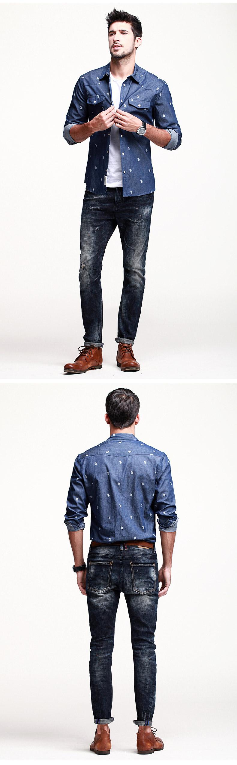 【尤萨开衫/卫衣/针织衫】男士时尚新款印花长袖牛仔