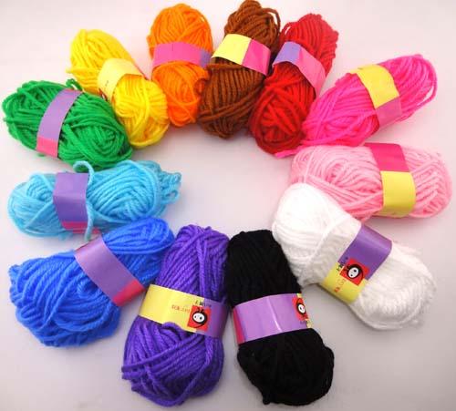 毛线球毛线团做娃娃头发幼儿园区域区角活动创意手工才材料毛线绒线