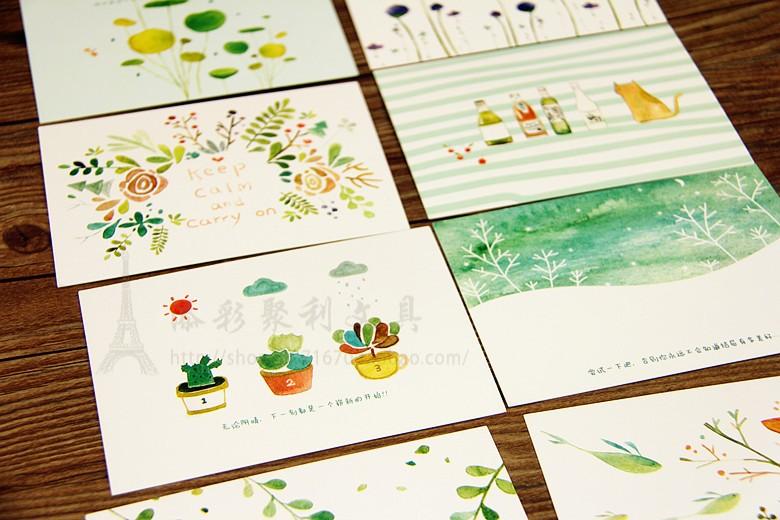 本木bmdm文具 可爱森林治愈系 铁盒卡片 36张明信片 祝福卡清新款