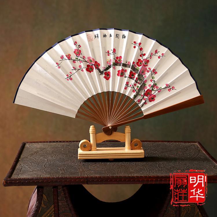 中国风工艺礼品扇扇子男女式折扇7寸手绘宣纸桃花扇 日式竹扇