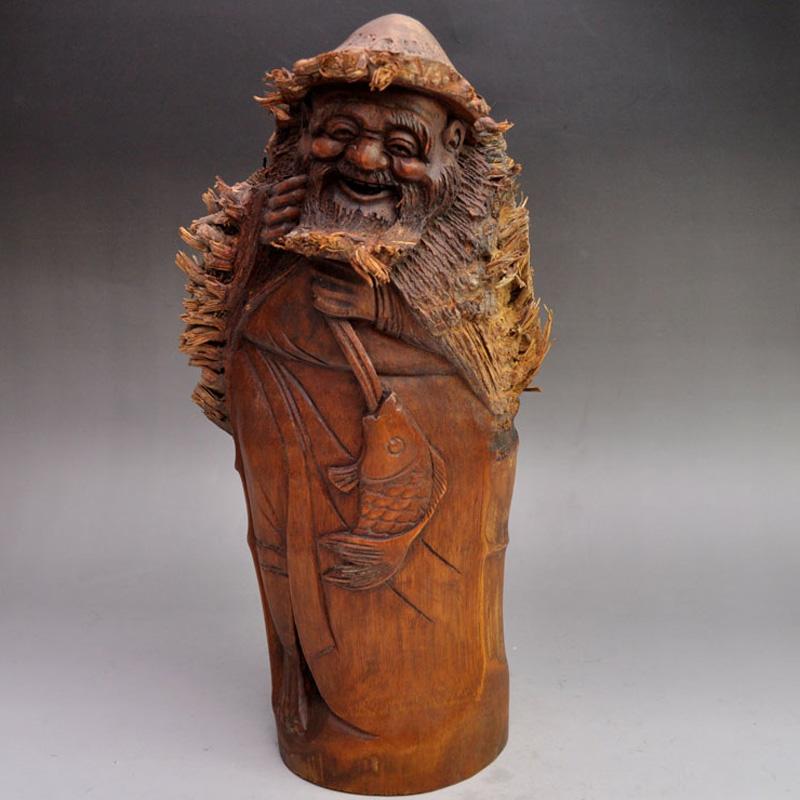竹根雕精品浮雕渔翁得利摆件