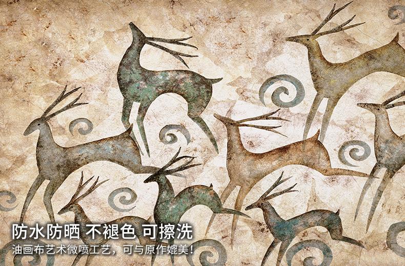 美式客厅装饰画三联画背景墙画欧式壁画玄关画餐厅挂画发财鹿sn5867