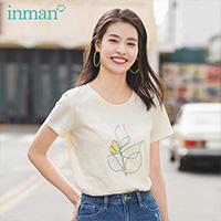 茵曼短袖t恤女2020夏装新款小清新圆领纯棉绣花修身显瘦百搭上衣