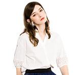 osa欧莎2018新款夏季V领洋气白色衬衫女宽松韩版纯棉短袖衬衣女潮