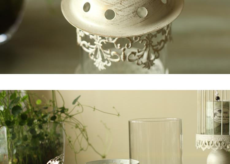 北欧简约乡村 白色雕花玻璃铁艺蜡烛台 婚庆摆设摆饰 家居饰品