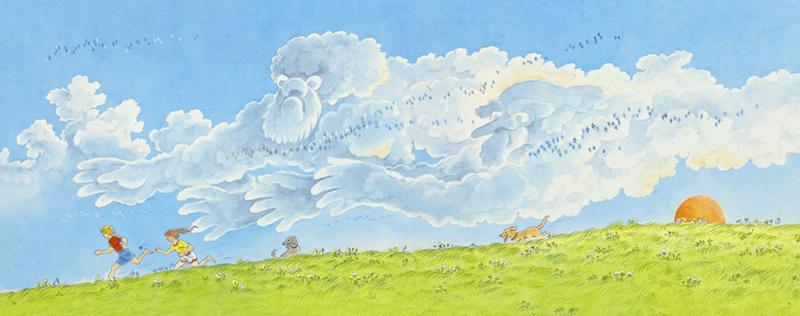 动静相宜的纸面电影评彼得?史比尔的《夏天的天空》   唐彦(自由艺术家)   无字图画书的魅力在于它不费吹灰之力,用图像叙事传递信息,感染予人。彼得?史比尔凭借无字图画书《诺亚方舟》获得1978年凯迪克金奖,借助分格图像的依次串联实现类似纸面动画的流动感叙事。但这本《夏天的天空》却舍弃了格,将画面如宽屏荧幕一般跨页呈现,浩瀚的天空、浮动的流云一览无余。   即便缺少了掌控节奏的重要手段格,整本图画书的叙事依旧是流畅连贯的,且大幅画面的串联强化出娓娓道来的舒缓节奏。如果说大卫?